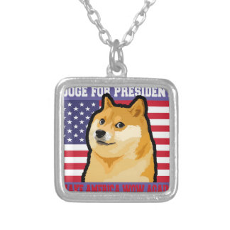 Doge president - doge-shibe-doge dog-cute doge silver plated necklace