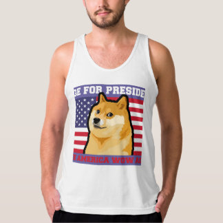 Doge president - doge-shibe-doge dog-cute doge singlet