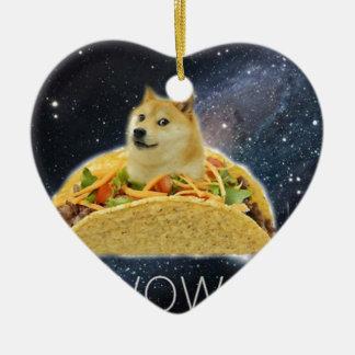 doge space taco meme ceramic ornament