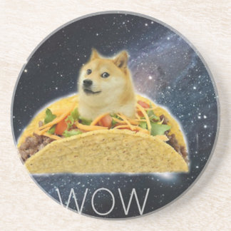 doge space taco meme coaster