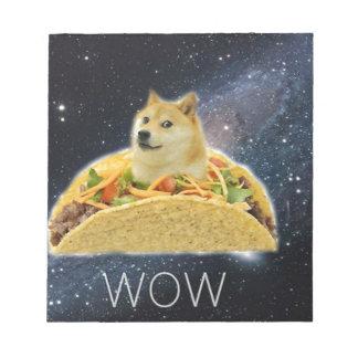doge space taco meme notepad