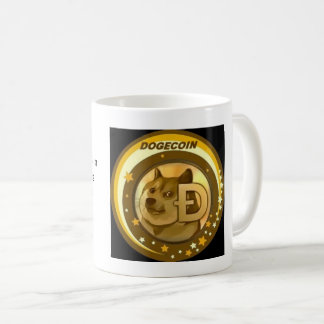 Dogecoin cryptocurrency cup. coffee mug