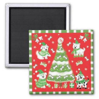 Doggie Christmas Tree Square Magnet
