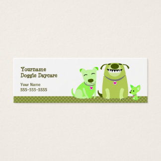 Doggie Daycare Green Dogs Mini Business Card
