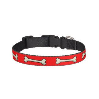 Doggie Dog Bones on Red or Custom Color Pet Collar