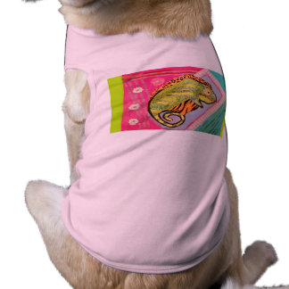 Doggie Ribbed Tank Top with Bright Lizard Design Pet Clothing