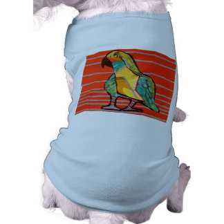 Doggie Ribbed Tank Top with Bright Parrot Design Sleeveless Dog Shirt