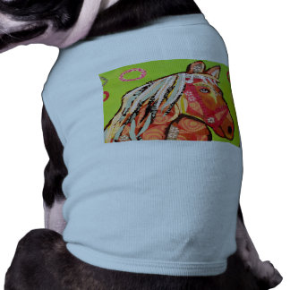 Doggie Ribbed Tank Top with Cool Horse Design Pet Clothes