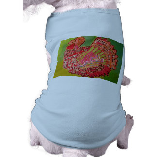Doggie Ribbed Tank Top with Cool Turkey Design Sleeveless Dog Shirt