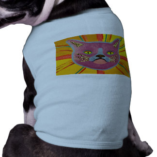 Doggie Ribbed Tank Top with Cute Cat Design Sleeveless Dog Shirt