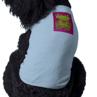 Doggie Ribbed Tank Top with Cute Frog Design Dog T-shirt