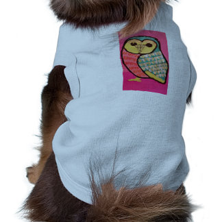 Doggie Ribbed Tank Top with Cute Owl Design Pet T Shirt