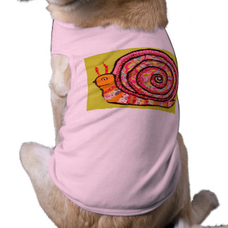 Doggie Ribbed Tank Top with Cute Snail Design Doggie T Shirt