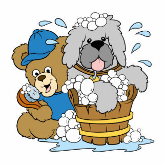 Doggy Bath Time Bear Photo Cutouts
