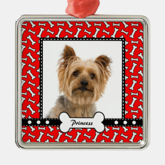 Doggy Gift - Christmas Dog Bone Red Photo Template Metal Ornament
