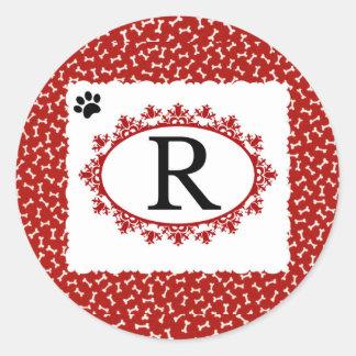Doggy Monogram R Classic Round Sticker