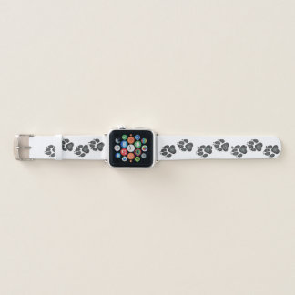 Doggy Paw Prints in Charcoal Gray Apple Watch Band