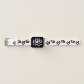 Doggy Paw Prints in Deep Red Apple Watch Band