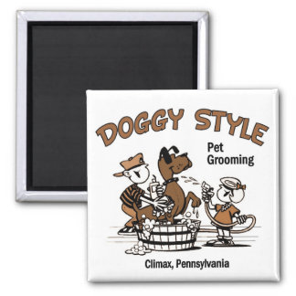 Doggy Style Pet Grooming Square Magnet
