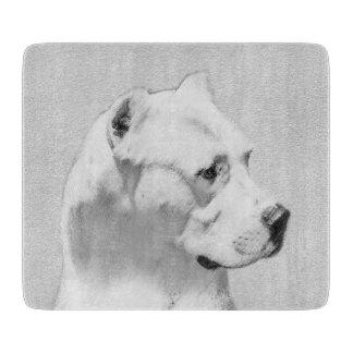 Dogo Argentino Painting - Original Dog Art Cutting Board
