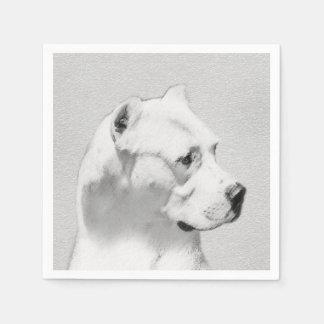 Dogo Argentino Painting - Original Dog Art Disposable Napkins