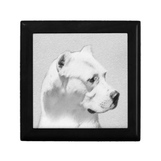 Dogo Argentino Painting - Original Dog Art Gift Box