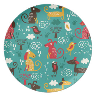 Dogs and birds party plate