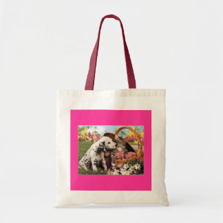Dogs and cats do get along budget tote bag