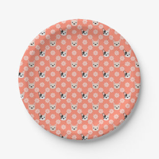 Dogs and Flowers Coral 7 Inch Paper Plate