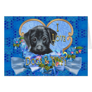Dogs and Wifi Card Black Lab Puppy