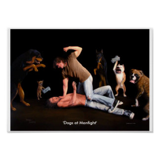 'Dogs at Manfight' 14x10 print