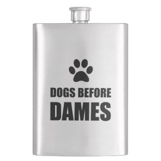 Dogs Before Dames Funny Hip Flask