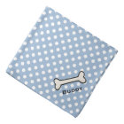 Dog's Blue and White Polka Dot Custom Bandanna