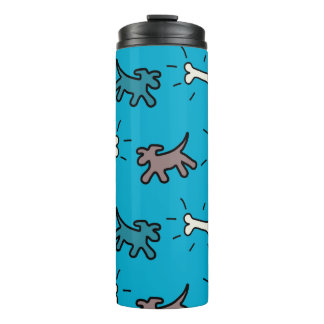 Dogs Bones Graffiti Style Blue Thermal Trumbler Thermal Tumbler