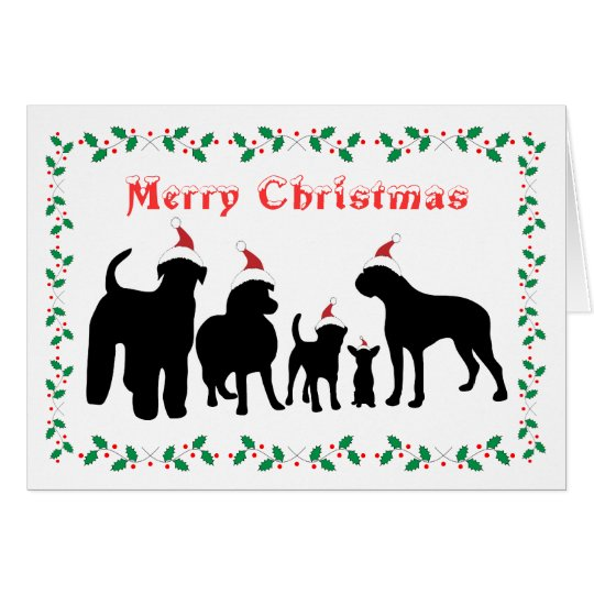 Dogs breed group merry christmas greeting card