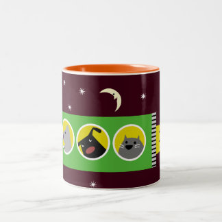 Dogs & Cat in Space Two-Tone Coffee Mug