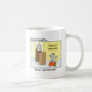 Dogs Cats & Heaven Funny Cartoon Gifts & Tees Basic White Mug