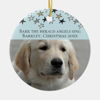 Dogs Christmas Personalized Photo Template Ceramic Ornament