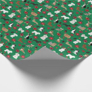 Dogs Christmas Poinsettia Gift wrap
