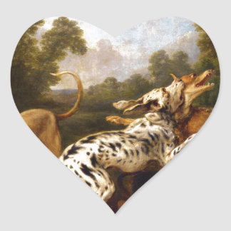 Dogs fighting by Frans Snyders Heart Sticker