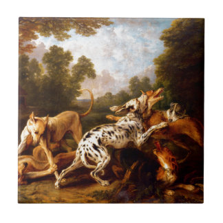 Dogs fighting by Frans Snyders Small Square Tile