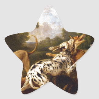 Dogs fighting by Frans Snyders Star Sticker