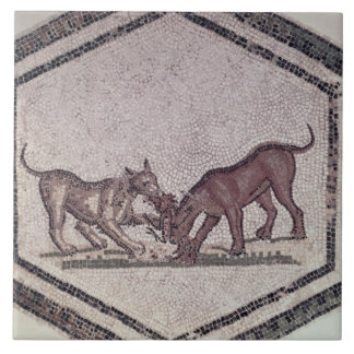 Dogs Fighting for a Bird, Roman, 2nd-3rd century ( Large Square Tile