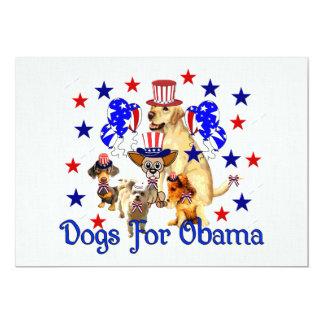 DOGS FOR OBAMA 13 CM X 18 CM INVITATION CARD