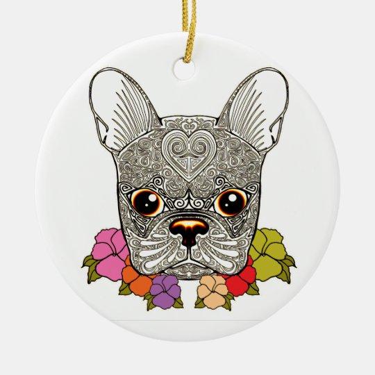 Dog's Head Round Ceramic Decoration