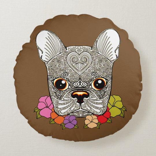 Dog's Head Round Cushion