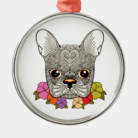 Dog's Head Silver-Colored Round Decoration