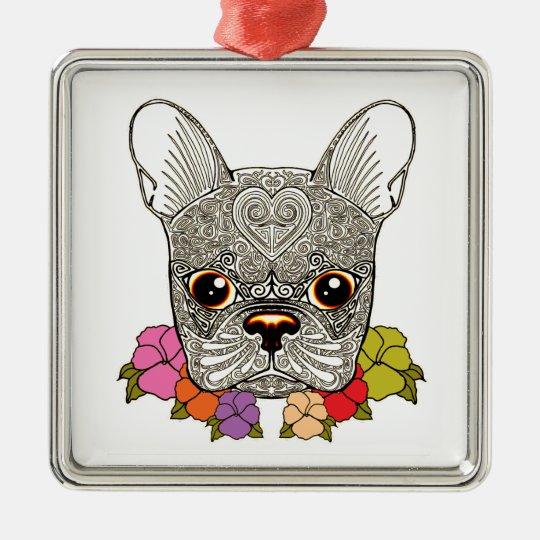 Dog's Head Silver-Colored Square Decoration