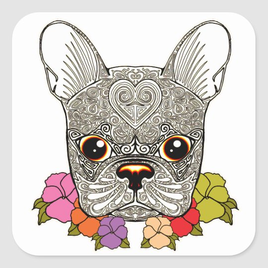 Dog's Head Square Sticker
