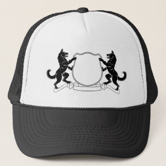 Dogs Heraldic Coat of Arms Crest Shield Trucker Hat